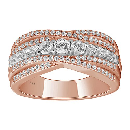 14K Rose Gold 1cttw Diamond Criss Cross Anniversary Ring