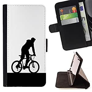 BullDog Case - FOR/Samsung Galaxy A3 / - / bicycle man hood art sign symbol eco sports /- Monedero de cuero de la PU Llevar cubierta de la caja con el ID Credit Card Slots Flip funda de cuer