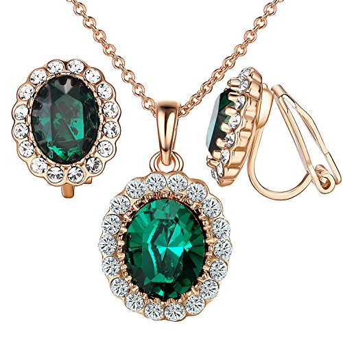 Yoursfs Green Crystal Jewelry Sets 18k Rose GP Vintage Halo Earrings Necklace (Renaissance Necklace And Earring Set)