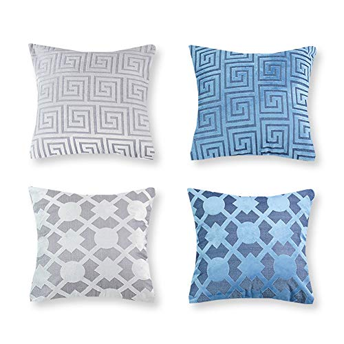 CRJHNS Throw Pillow Covers Soft Cut-Pile Cushion Cover Geometric Design Pillowcase Decorative for Couch,Bedroom, Set of 4,18x18 inch(Grey and Teal)