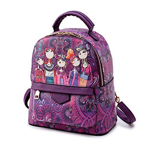 HeHe Mochila Cuero de la PU casual, mochila de viaje, mochila escolar para chicas Púrpura - grande