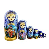 Set of 7 Cutie Lovely Blue Gold Wooden Nesting Dolls Matryoshka Russian Doll Popular Handmade Kids Girl Gifts Toy