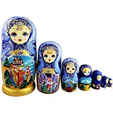 Beautiful Blue and Gold Little Girl and Fairy Tale Pattern Handmade Wooden Traditional Russian Nesting Dolls Matryoshka Dolls Set 7 Pieces For Kids Toy Birthday Christmas Decoration Mother's Day Gifts