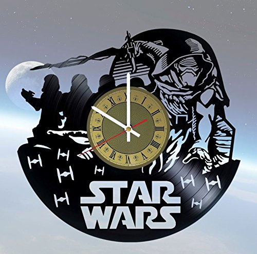 Empire Clock - Star Wars Galactic Empire Vinyl Wall Clock - Handmade Artwork Home Bedroom Living Kids Room Nursery Wall Decor Great Gifts idea for Birthday, Wedding, Anniversary - Customize Your (Gold/White)