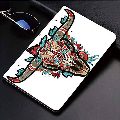 3D Printed iPad Pro 10.5 Case,Skull Colorful Ornate Design Horned Animal Trophy,Protective Cover with Auto Wake/Sleep Compatible with Apple iPad Pro 10.5 inch 2017 Tablet