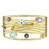 18k Yellow Gold Textured Finish Citrine Amethyst Blue Topaz Bangle Bracelet