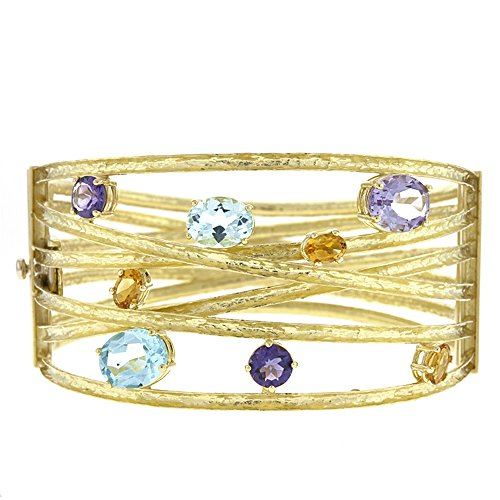 18k Yellow Gold Textured Finish Citrine Amethyst Blue Topaz Bangle Bracelet by Jewelplus
