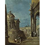 'Francesco Guardi An Architectural Caprice (1) ' oil painting, 18 x 23 inch / 46 x 60 cm ,printed on Perfect effect canvas ,this High Definition Art Decorative Prints on Canvas is perfectly suitalbe for Garage decoration and Home decoration and Gifts