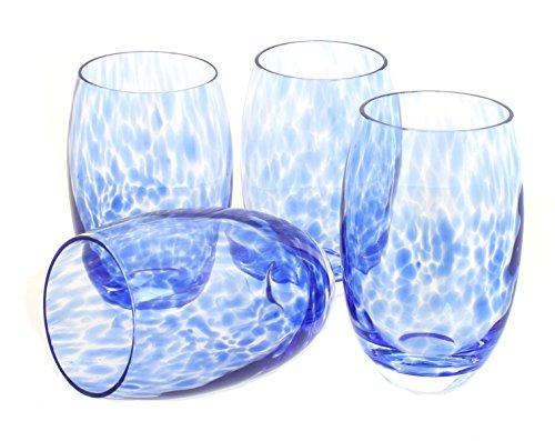 Confetti Cobalt (Blue Rose Polish Pottery Cobalt Confetti Water Glass Set)