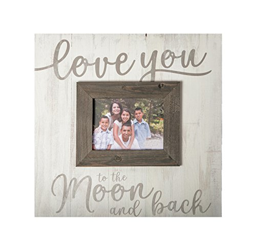 Love You to Moon & Back Whitewash 17.5 x 17 Wood Wall Hanging Photo Frame Plaque