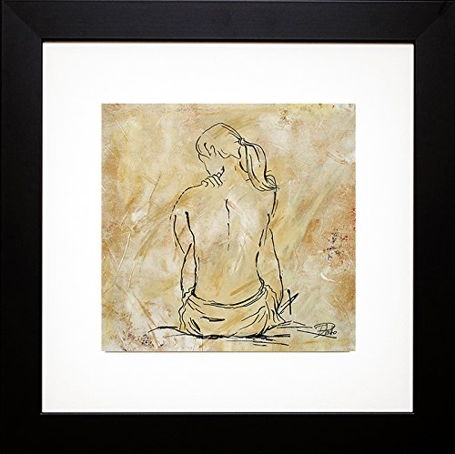Framed Art Print 22 x 22 by Patricia Pinto - Nude Sketch on Beige II