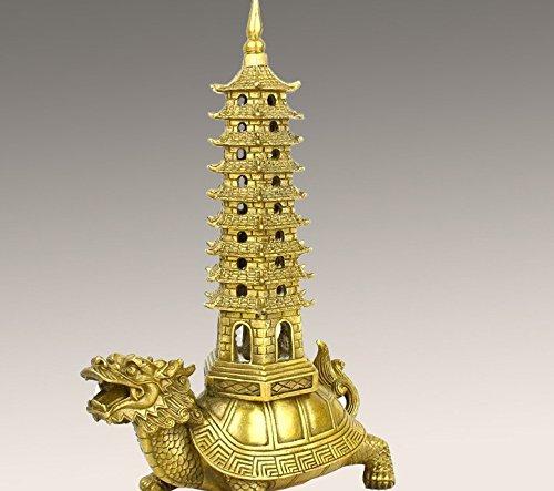 Pagoda Dragon (Master Handmade Brass Good Luck dragon turtle with Pagoda Statue for Collectible)