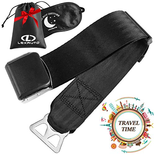 LexAuto Airplane Seat Belt Extender set │Southwest Airlines │FAA Approved Seatbelt Extender 7-24 │ Leather Bag and Double-sided Sleep mask │ Type B