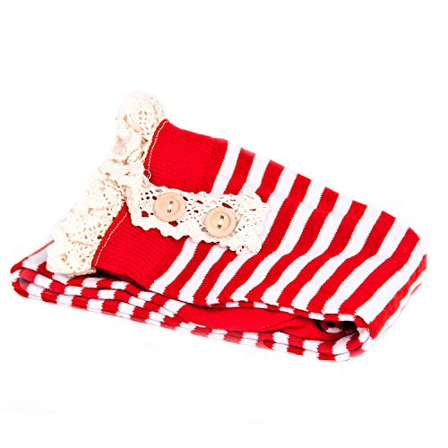 ReLIVE Women's Holiday Striped Tall Button Boot Socks with Lace (1 Pair) Red/White Stripes (Red And White Striped Leg Warmers)