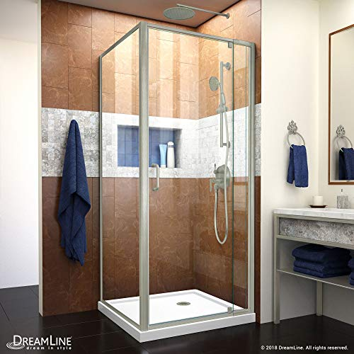 (Dreamline DL-6714-04CL Flex Shower Enclosure and Base, 32 in. D x 32 in. W x 74.75 in. H, Brushed)