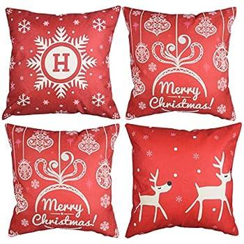 Lansian 18x18 Christmas Pillow Covers Standard Cotton Linen Invisible Zipper Merry Christmas Xmas Tree Deer Santa Claus Decorative Sofa Cushion Covers Pillowcases, Set of 4
