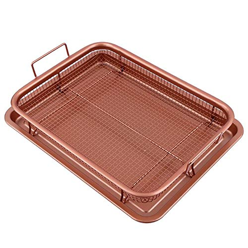 RAINBEAN Crisper Tray, Non-Stick Air Oven Fry Pan with Tray & Mesh Basket Set, Healthy Oil Free Copper Chef Copper Crisper Air Frying Option for Chicken, French Fries, Onion Rings and more