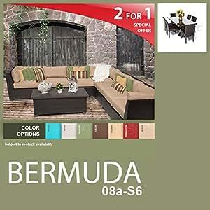 Bermuda 15 Piece Outdoor Wicker Patio Furniture Package BERMUDA-08a-S6