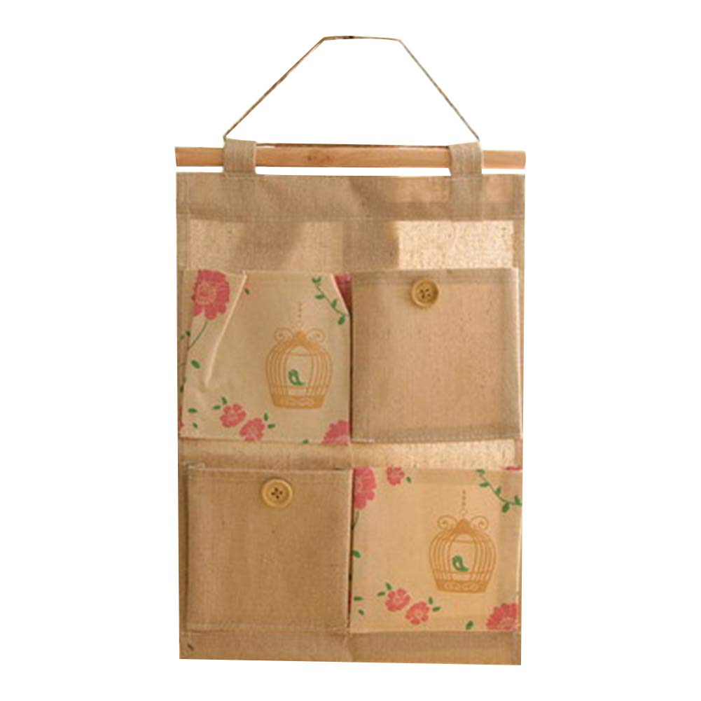 Hanging Storage Bag, Linen Cotton Fabric Wall Door Closet Hanging Storage Bag 4 Pockets Cute Birdcage Pattern Home Organizer Bag Naisidier