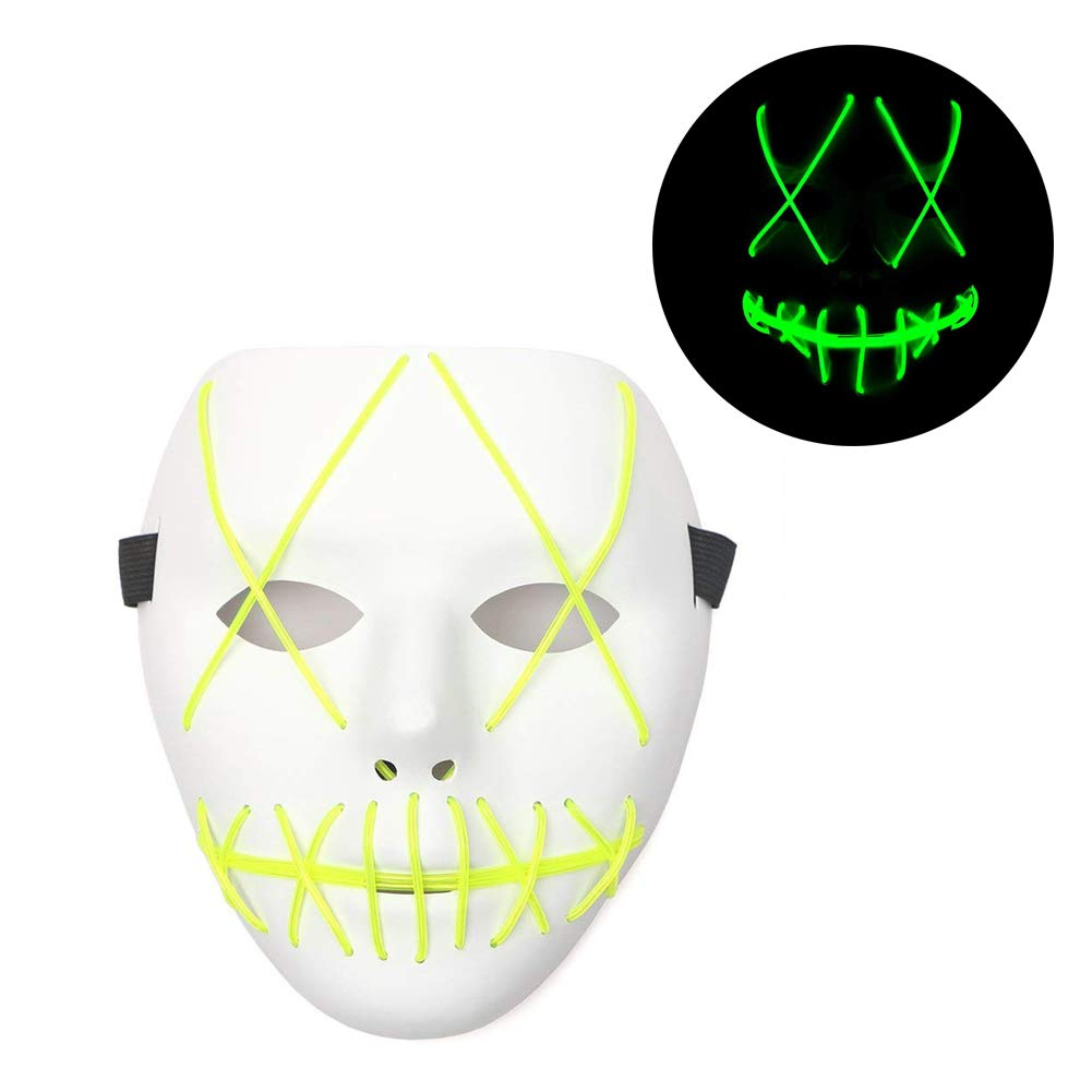 SunZing Frightening Halloween Cosplay LED Light up Mask for Festival Party Halloween Costumes