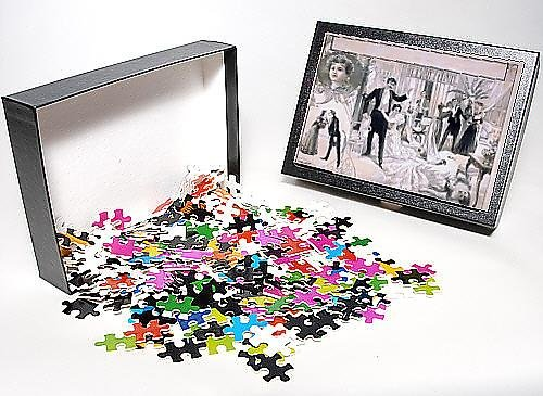 Photo Jigsaw Puzzle of Horrified onlookers in formal dress view dead woman and smok