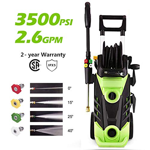 Homdox 3500 PSI 2.6 GPM Power Washer Electric Pressure Washer 1800W Electric Power Washer Cleaner with Hose Reel and 4 Nozzles