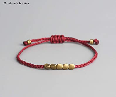 c3da68f731684 Image Unavailable. Image not available for. Color  Lucky Handmade Bracelet  Handmade Tibetan Copper Bead Lucky Rope ...