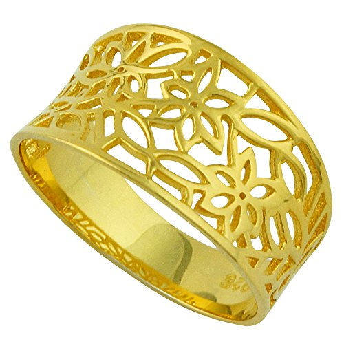 CloseoutWarehouse Sterling Silver Yellow Gold-Tone Plated Victorian Style Leaf Filigree Vintage Ring Size 7