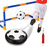 Kids Toys Soccer Goal Set Hover Soccer Ball Indoor Outdoor Disk Games with LED Lights, Foam Bumpers and Music, Boys Girls Air Power Sport Training Football