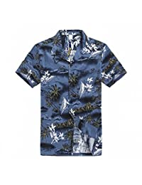 Young Adult Boy Hawaiian Aloha Luau Shirt in Blue Map and Surfer