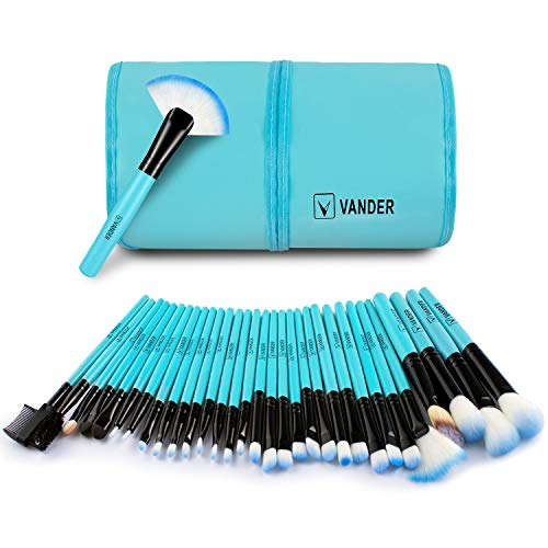 Makeup brushes set By Vander (32 Blue) (Neon Brushes Makeup)