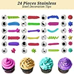 Cake Decorating Supplies 36 Pieces Cake Supplies with Revolving Plastic Turntable, 24 Stainless Steel Decorating Tips, 3 Plastic Scrapers, Icing Spatular, Pastry Bag 34 EVERYTHING NEEDED TO DECORATE CAKE - Cake turntable stand, 24 Stainless Steel icing Tip set, 1 Cake Decorating Turntable 11 inch , 1 Icing Spatula With Sided 11 inch, 1 Reusable Silicone Pastry Bags, 1 Cake Tip Brush,1 Cake Flower Lifter,1 Cake Pen, 3 Cake Scrapers, 1Piping Tip Coupler, 20 Disposable Pastry Bag. A MUST HAVE STAND FOR BAKING LOVERS - Make beautiful cakes with the Growses cake decorating supplies package. The rotating Cake decorating stand help you to easily decorate round cakes and other desserts for birthdays, parties, weddings and other events. The Round Turntable is robust, made from non sticky plastic, non-toxic, dishwasher safe, ideal for beginners as well as for professionals. MORE ICING BAGS FOR USING - 1 pastry bag and 1 disposable pastry bags, perfect for decorating with milti-color cream, Plastic Couplers can be easier to change piping tips.