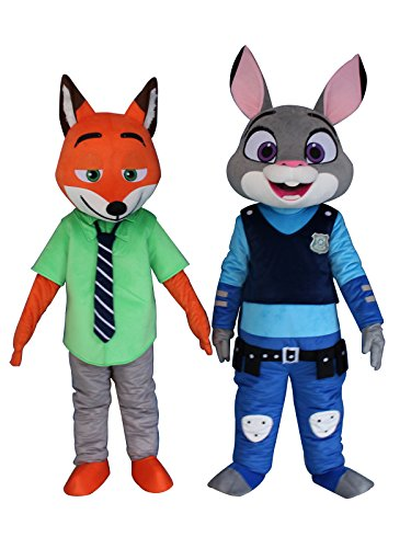 Judy Rabbit and Nick Fox of Zootopia Adult Mascot Costumes Cosplay Fancy Dress Outfits (Rabbit and Fox)