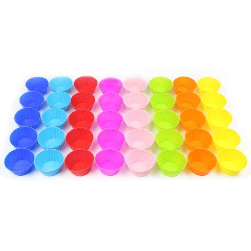 HEHALL 40pcs Silicone Muffin Molds Cupcake Baking Cups Pans Liners, 8 Colors by HEHALI (Image #4)