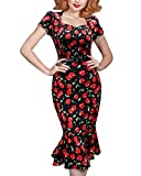 Roiii Retro Pinup Vintage Rockabilly Wiggle Dress Long Sleeve Skirt Size 8-12-18 (Medium, Red)