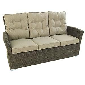 Sofá para jardín, 3 plazas, Chocolate, Aluminio y rattán sintético, Tamaño:80x170x93 cm,Cojín Arena Incluido