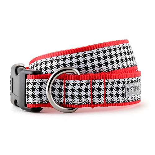 (The Worthy Dog   Houndstooth Pattern Black & White   Adjustable Designer Pet Dog Collar , Black/White, S)