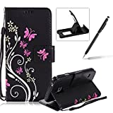 Strap Case for Samsung Galaxy S6,Smart Leather Cover for Samsung Galaxy S6,Herzzer Stylish Butterfly Flower Design Wallet Folio Case Full Body PU Leather Protective Stand Cover with Inner Soft Silicone Shell for Samsung Galaxy S6 + 1 x Free Black Cellphone Kickstand + 1 x Free Black Stylus Pen - Black