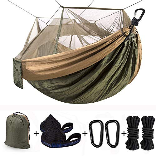 Camping Hammock with Mosquito Net Double & Single Hanging Hammock, Lightweight Portable Parachute Hammock with 10ft Hammock Tree Straps & Carabiners for Camping, Hiking, Backpacking Survival, Travel