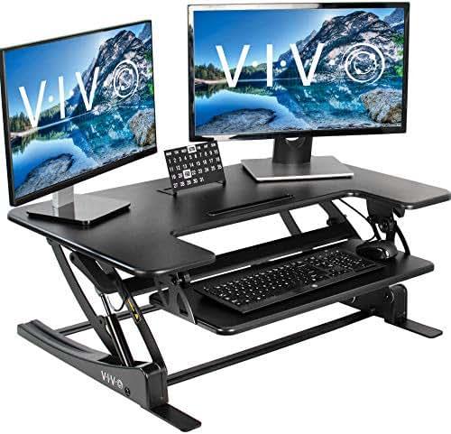 VIVO Black Height Adjustable 36 inch Stand up Desk Converter | Quick Sit to Stand Tabletop Dual Monitor Riser (DESK-V000V)