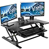 VIVO Black Height Adjustable 36 inch Stand up Desk Converter | Quick Sit to Stand Tabletop Dual Monitor Riser (DESK-V000V)