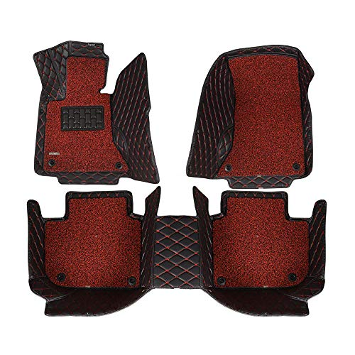 AOYMEI Car Floor Mats for 2012-2018 Dodge Ram Double Layer Leather Fully Surrounded Removable Wire Loop All-Weather Waterproof Car Mats (red line + red) ()