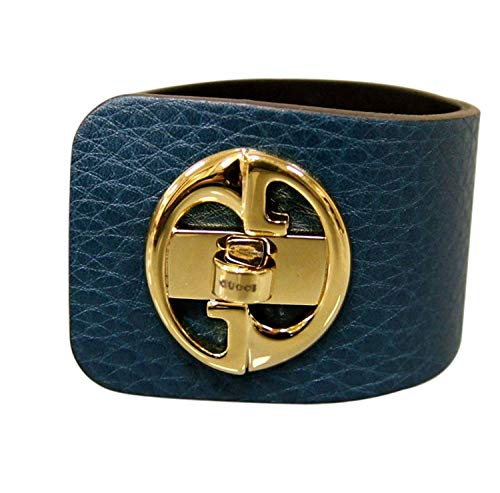 Gucci Leather Bracelet - Gucci Women's 1973 Blue Leather Bracelet Bangle with Gold G Size 17 253514