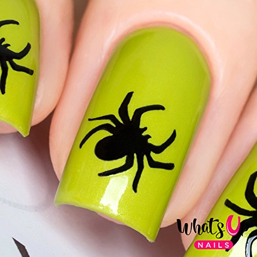 Whats Up Nails - Spider Nail Stencils Stickers Vinyls for Nail Art Design (1 Sheet, 20 Stencils) (Spider Halloween Stencil)