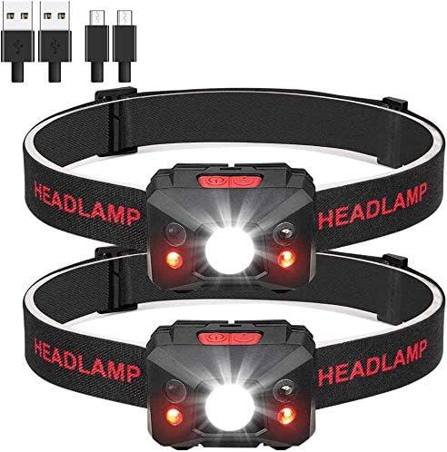 para Ciclismo Eletorot USB Recargable Linterna Frontal LED Linterna de Cabeza Luz Frontal Lamp/ára de Cabeza,5 Modos de luz,Ligera El/ástica Correr Deporte Nocturno