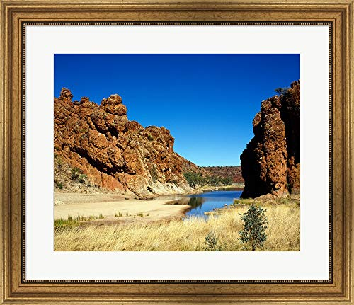 - Lake Surrounded by Rocks, Glen Helen Gorge, Northern Territory, Australia Framed Art Print Wall Picture, Wide Gold Frame, 28 x 24 inches