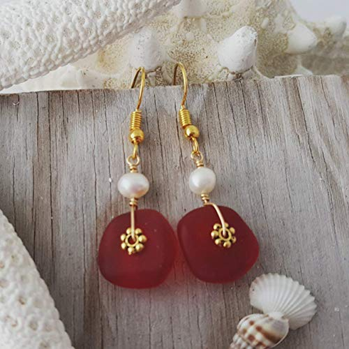 (Handmade jewelry from Hawaii, Gold wire wrapped circle Ruby red sea glass earrings,
