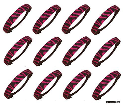 Kenz Laurenz 12 Pack Glitter Headbands Elastic Stretch Sparkly Fashion Headband for Teens Girls Women Softball Volleyball Basketball Sports Teams Set Hair Accessories Store (Zebra Pink Black) ()