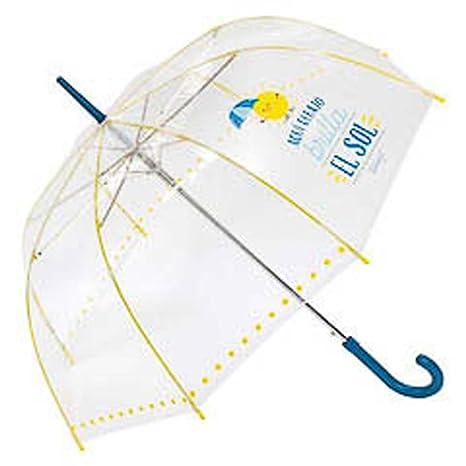Paraguas largo transparente Mr.Wonderful Azul