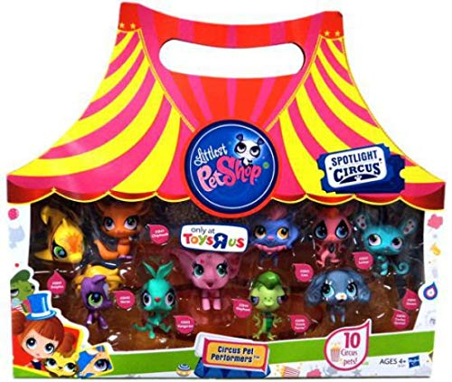 (Littlest Pet Shop Circus Pet Performers - Toys-R-US Exclusive. Yellow Dolphin #2839, Purple Horse/Pony #2840, Orange Chipmunk #2841, Teal Kangaroo #2843, Pink Elephant #2844, Purple and Pink Lion #2842, Pink and Black Lemur #2847, Cocker Spaniel Puppy Dog #2846, Mouse #2845, Vinnie Terrio #2696)